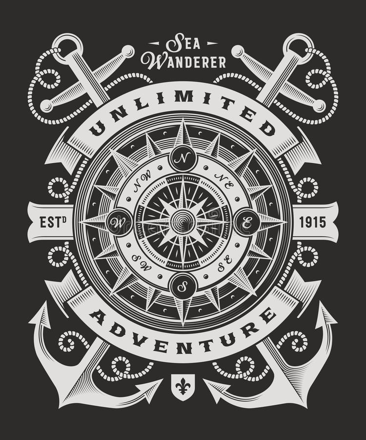 Typographie illimitée d'aventure de vintage sur le fond noir illustration libre de droits