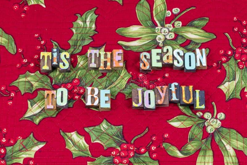 Typographie joyeuse de paix de joie de Noël de saison photographie stock