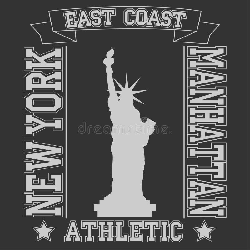 Typographie Manhattan de Côte Est de New York illustration de vecteur