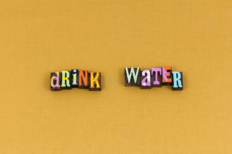 Typographie propre saine active de l'eau de boissons photo stock