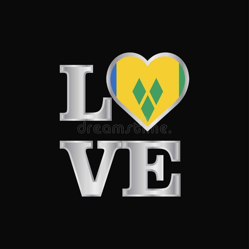Typographie Saint Vincent d'amour et vecteur de conception de drapeau de grenadines illustration de vecteur