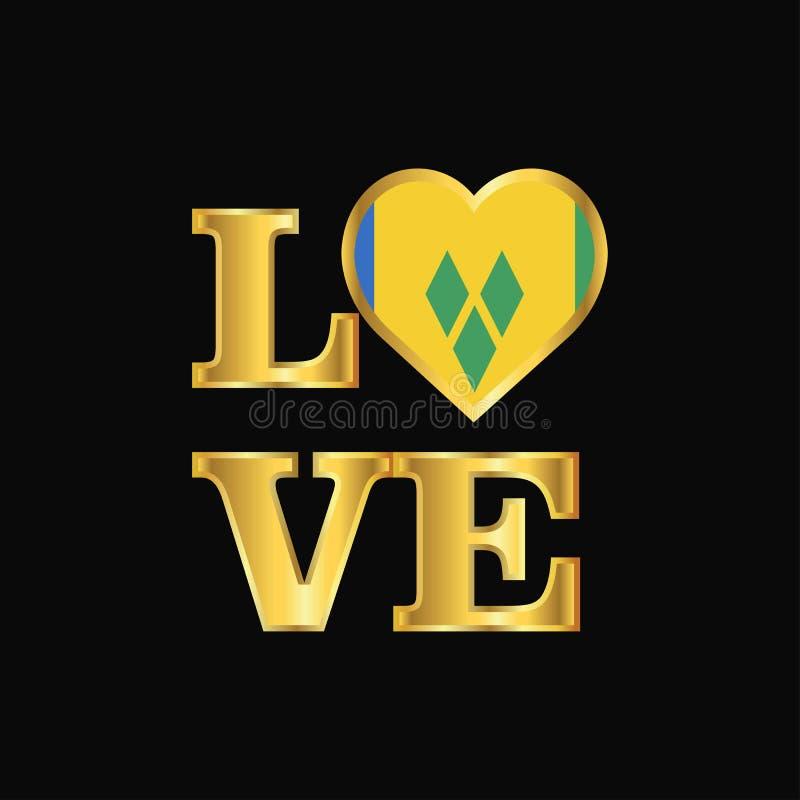 Typographie Saint Vincent d'amour et vecteur de conception de drapeau de grenadines illustration libre de droits