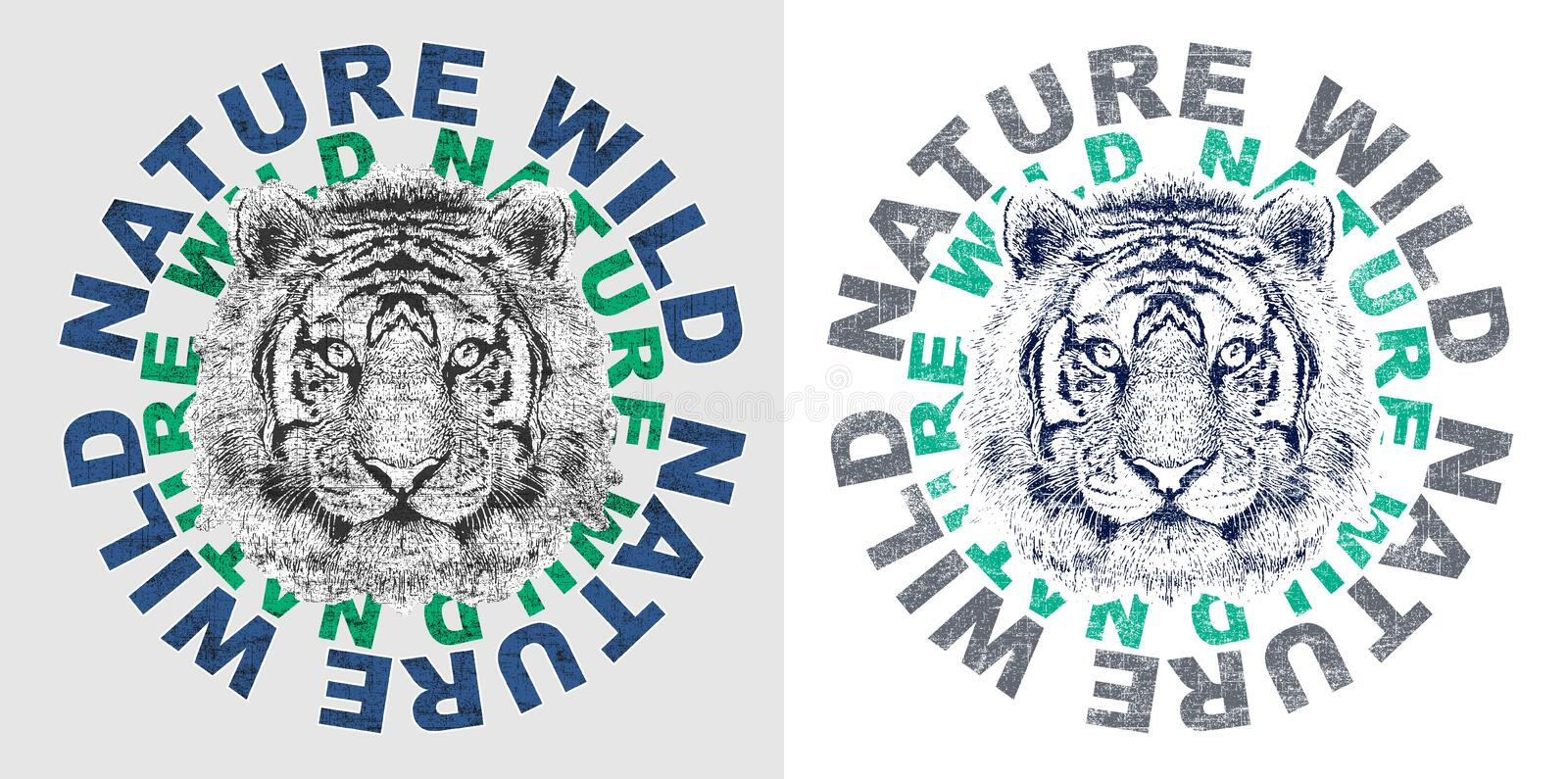 "typographie sauvage de ""nature "", copie de tee-shirt illustration de vecteur"
