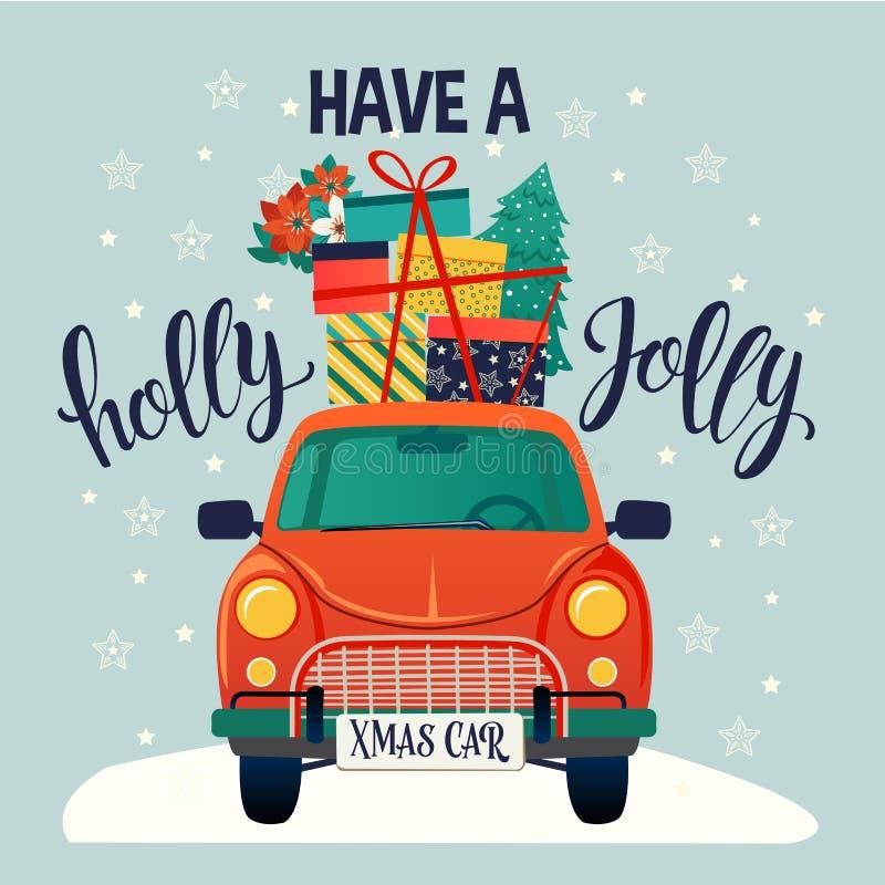 Typographie stylisée de Joyeux Noël Voiture rouge de cru avec l'arbre et les boîte-cadeau de Noël Illustration plate de style de  illustration stock