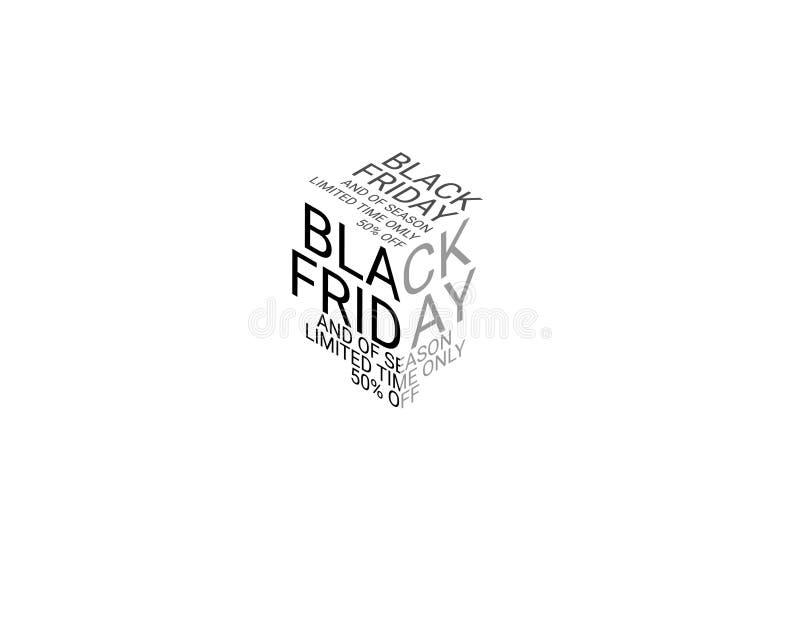 Typographie sur le sujet Black Friday et du temps limité seulement 50 de saison illustration de vecteur