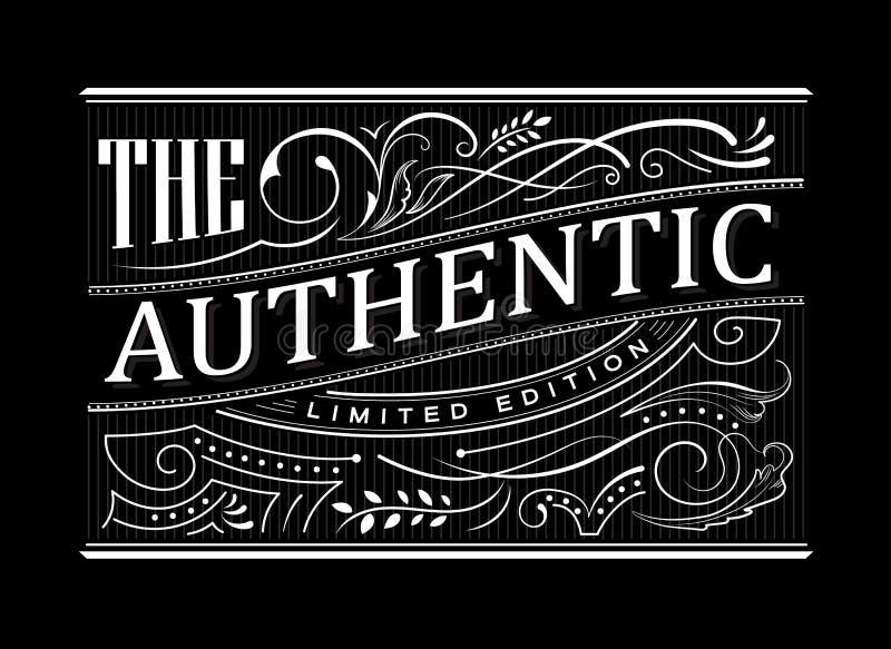 Typographie tirée par la main de frontière de vintage de label occidental antique de cadre illustration libre de droits
