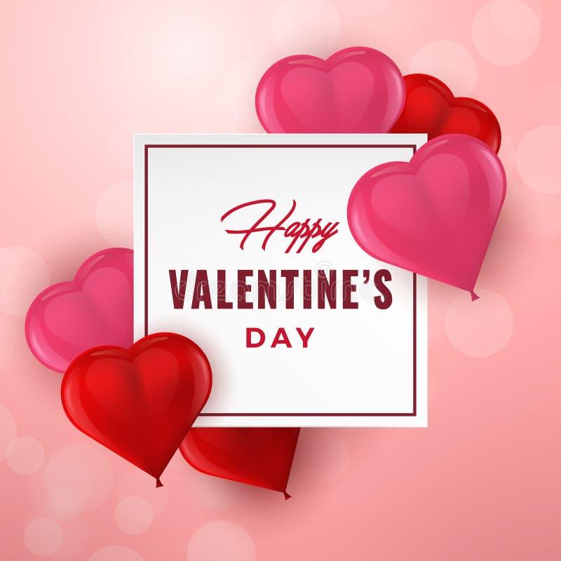Typographie tirée par la main de jour de valentines avec les coeurs 3D Carte de voeux de vacances, affiche, bannière, logo, vente illustration de vecteur