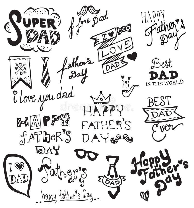 Typographie tirée par la main heureuse du jour de père illustration libre de droits