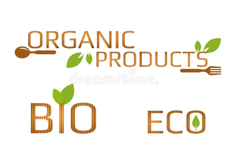 Set of eco, bio and organic products signs with green leaves brown spoon and fork. Wooden texture letters royalty free illustration