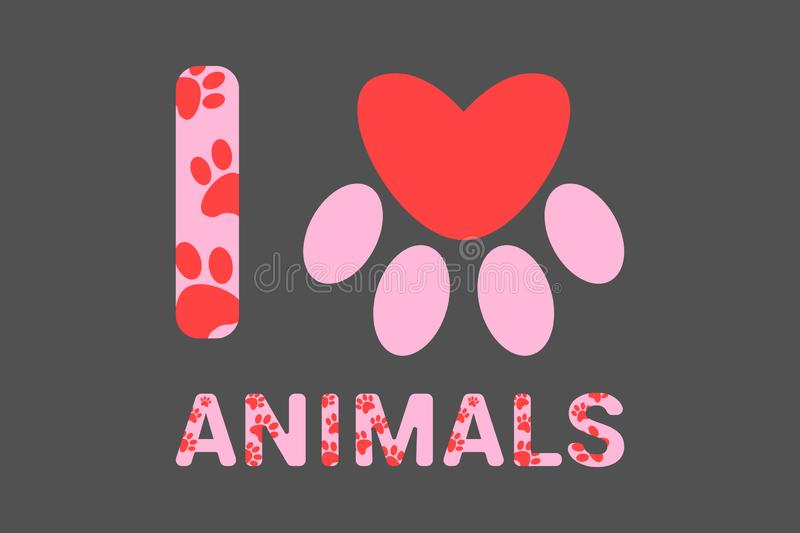I love animals pink text with red dog or cat paw prints. Typography with animal foot print. Red heart inside domestic animal paw stock illustration