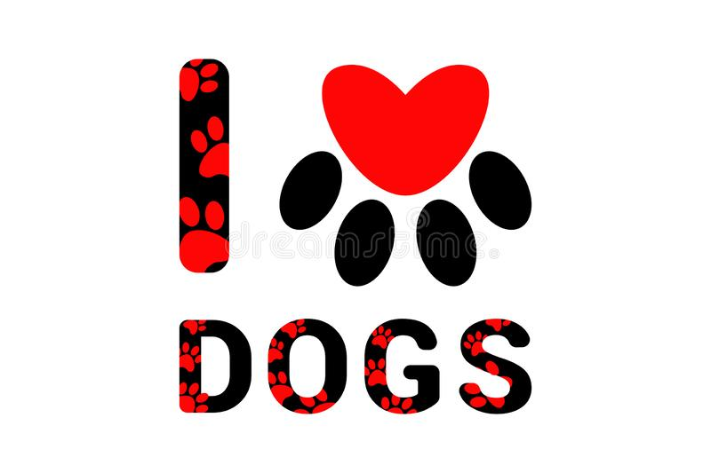 I love dogs black text with red dog or cat paw prints. Typography with animal foot print. Red heart inside domestic animal paw pr stock photography