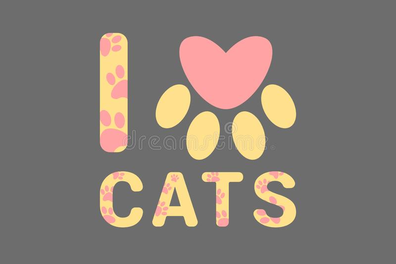 Isolated I love cats yellow text with pink dog or cat paw prints. Typography with animal foot print. Pink heart royalty free illustration