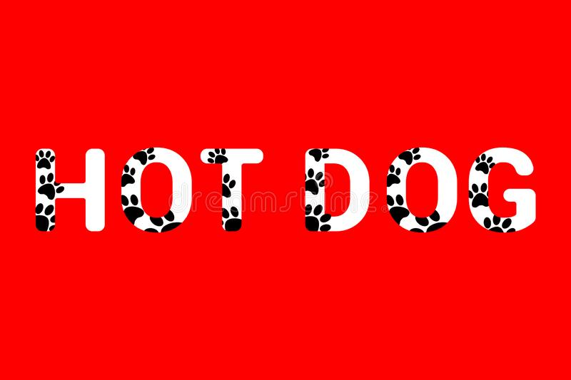 Isolated hot dog white text with black dog paw prints. Typography with animal foot print. stock photos