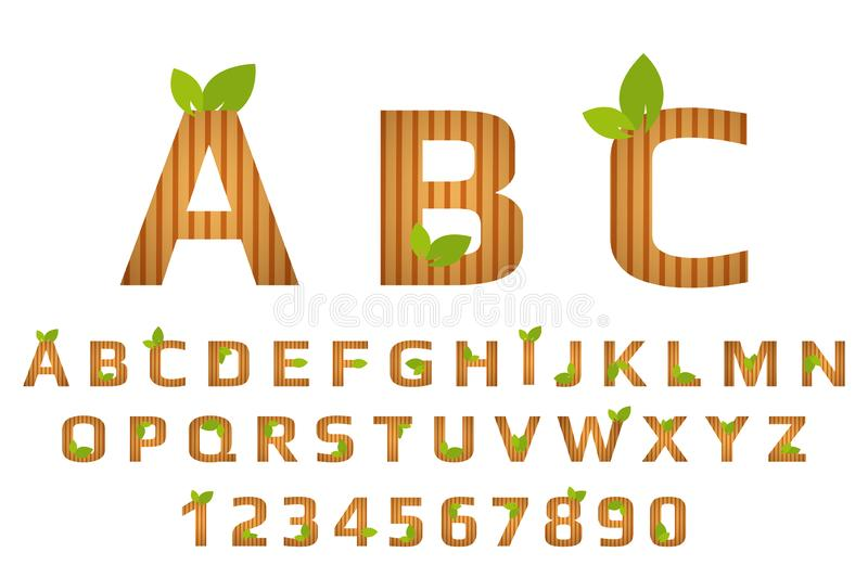 Striped font typography with wooden texture and green organic leaves. Eco Alphabet royalty free illustration
