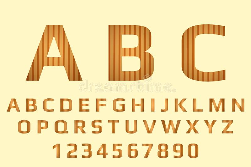 Alphabet with dark and light brown stripes. Wood calligraphy and numbers on pastel ba stock photos