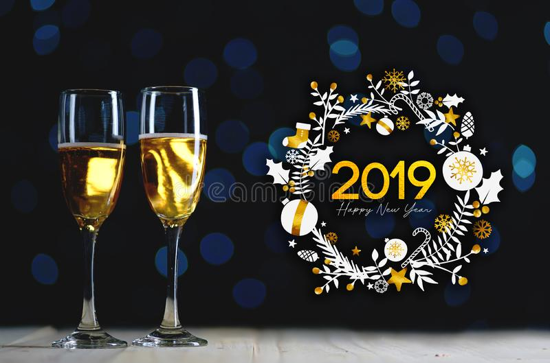 2019 Typography Art. Two Glasses of Champagne Dark Glow Lights B. Ackground royalty free stock images