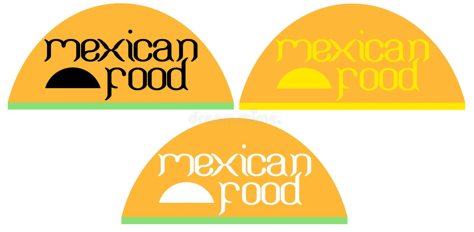 Typography background on tacos Mexican food is a creative logo stock illustration
