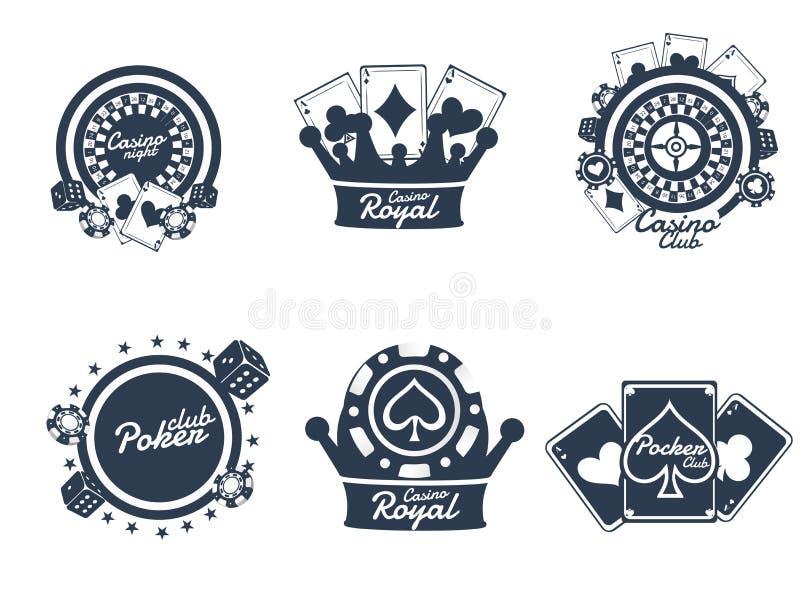 Typography, badge or emblem set of Casino Night with gambling element. royalty free illustration