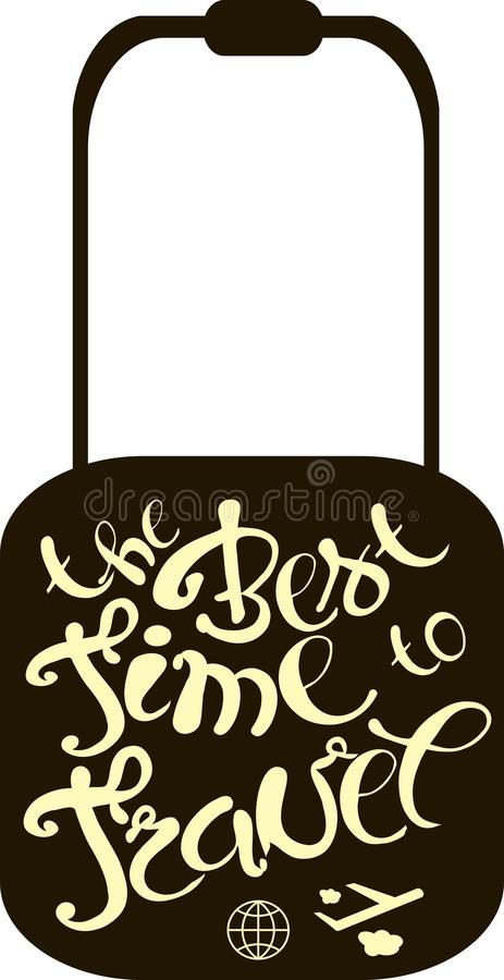 Typography banner The best time to travel, light yellow lettering on black, vector royalty free illustration