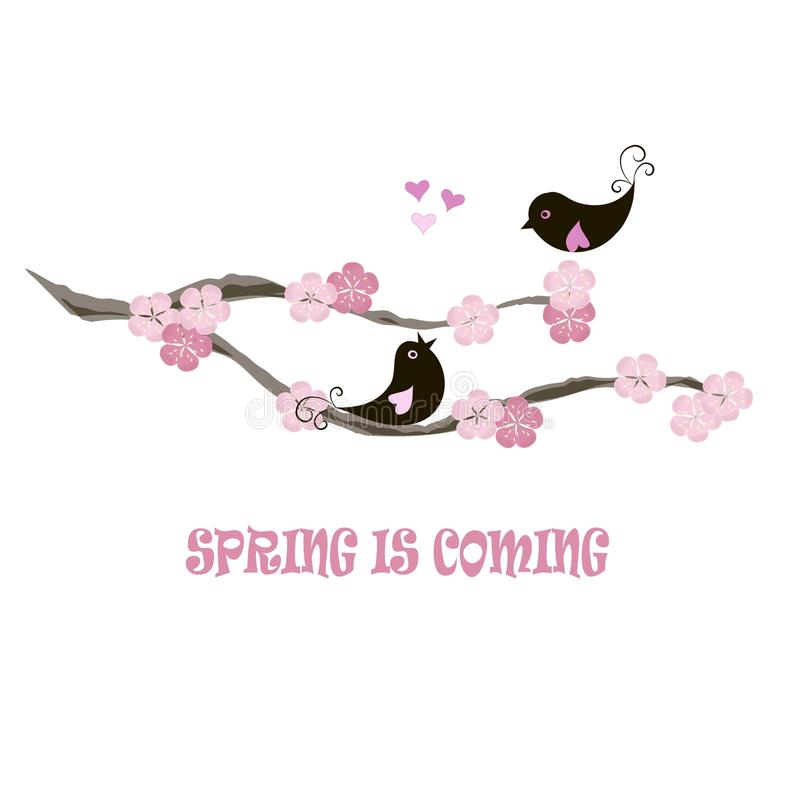 Free Typography Banner Spring Is Coming, Black Birds On Blooming Branch, Pink Flowers, Hearts On White Stock Image - 85287811