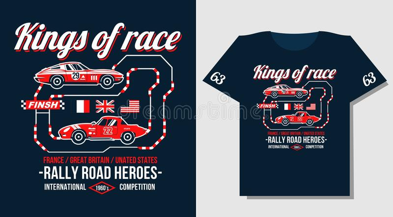 Typography Car Design Classic Rally Race Retro T-shirts Cool Design ...