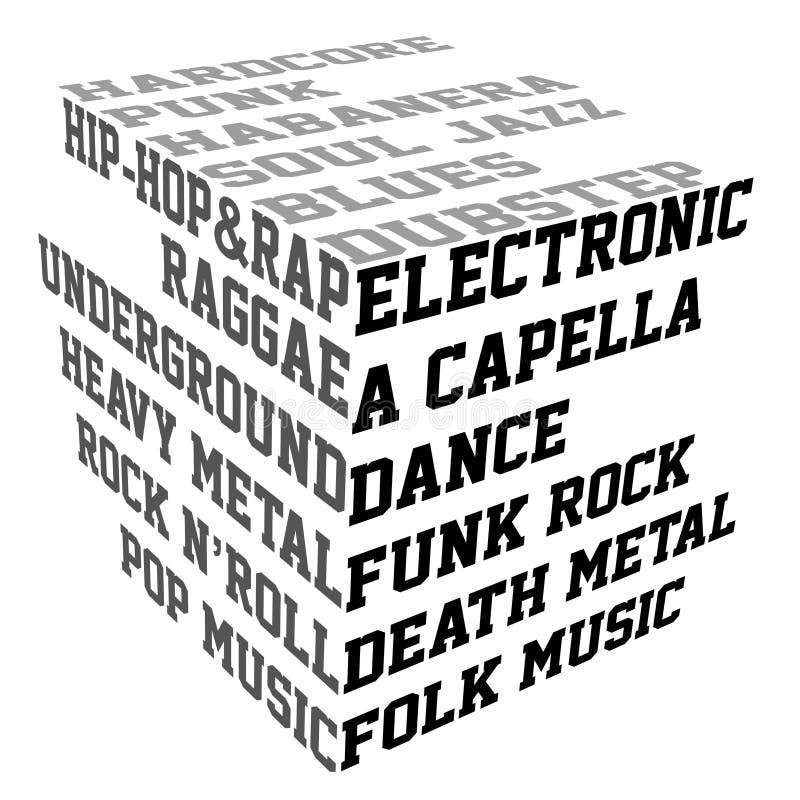 Typography com gênero da música ilustração do vetor