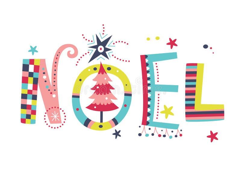 Typography creativo de Noel ilustração stock