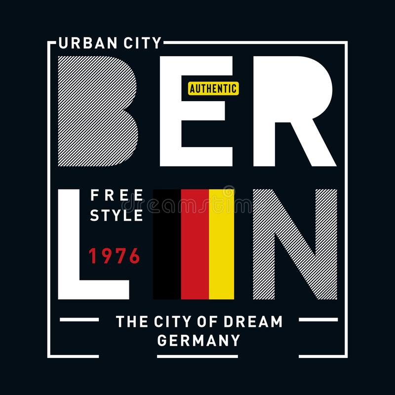 Typography design for tee t shirt. Berlin images typography deign for t shirt, vector illustration - Vector stock illustration