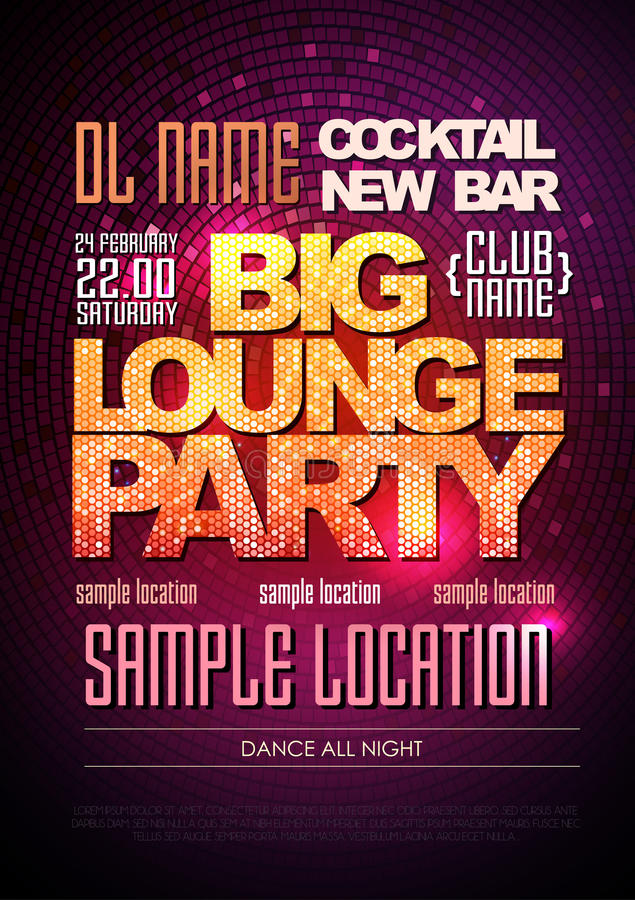 Typography Disco poster big lounge party vector illustration