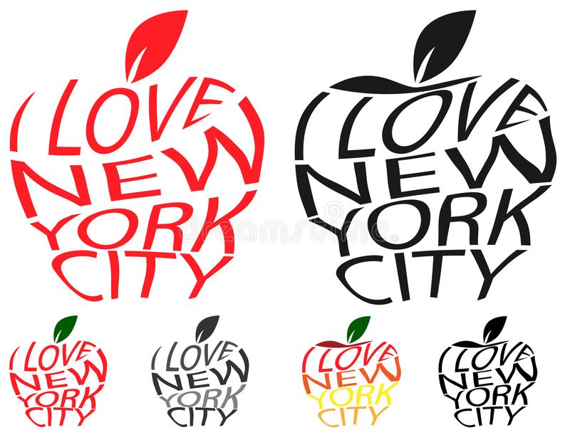Typography envelope distort vector text I love New York city in Big Apple symbol sign shape. Distorted text I love NYC. T shirt. Typography envelope distort stock illustration