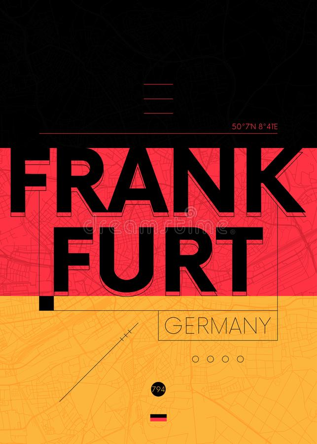 Typography graphics color poster with a map of Frankfurt, Vector travel illustration. Design of a poster for interior decoration vector illustration
