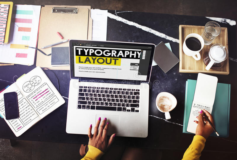 Typography Layout Ideas Creativity Design Element Concept royalty free stock photos