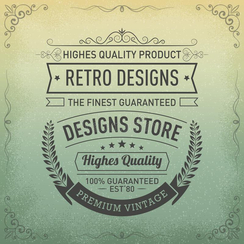 Typography logo design in retro style, Design store, Premium quality. Guaranteed vintage label vector illustration