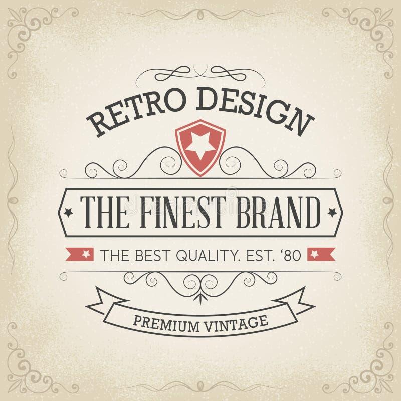 Typography logo design in retro style. Premium vintage label / badge, .eps 10 vector stock illustration royalty free illustration