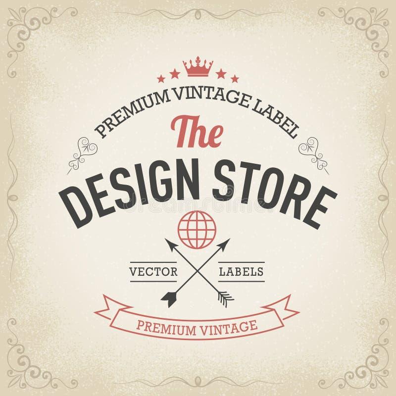 Typography logo design in retro style. Premium vintage label / badge, .eps 10 vector stock illustration stock illustration