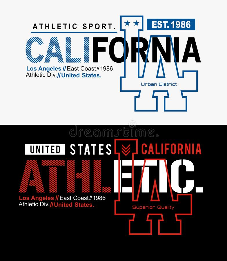 Typography Los Angeles California athletics, t-shirt graphic vector stock illustration