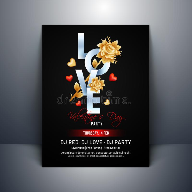 Typography of love with rose flower and heart shapes on black background. royalty free illustration