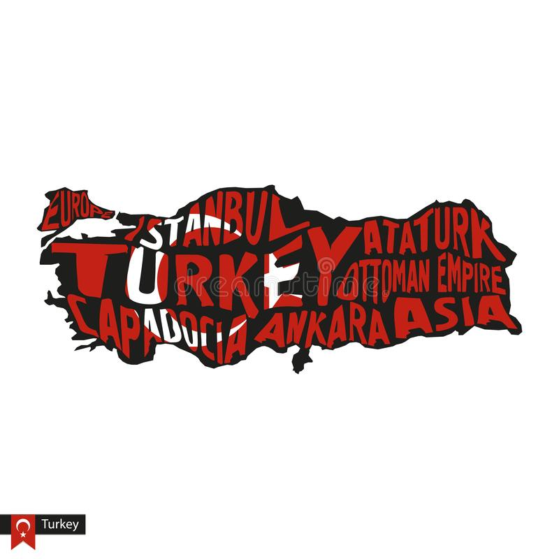 Typography map silhouette of Turkey in black and flag colors stock illustration