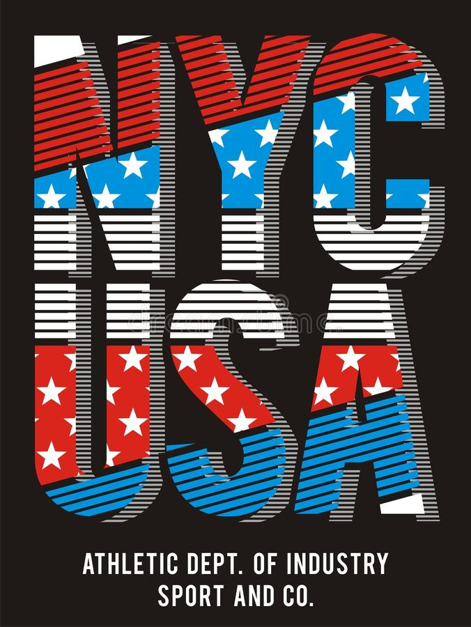 Athletic New York City texture America flag , vector. New York City texture America flag, form texture vector images are straight and smooth .screen printing royalty free illustration