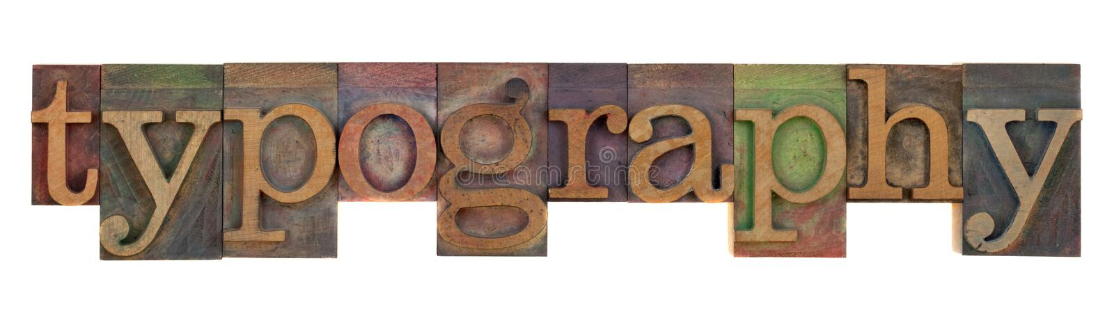 Typography in old letterpress type stock photos