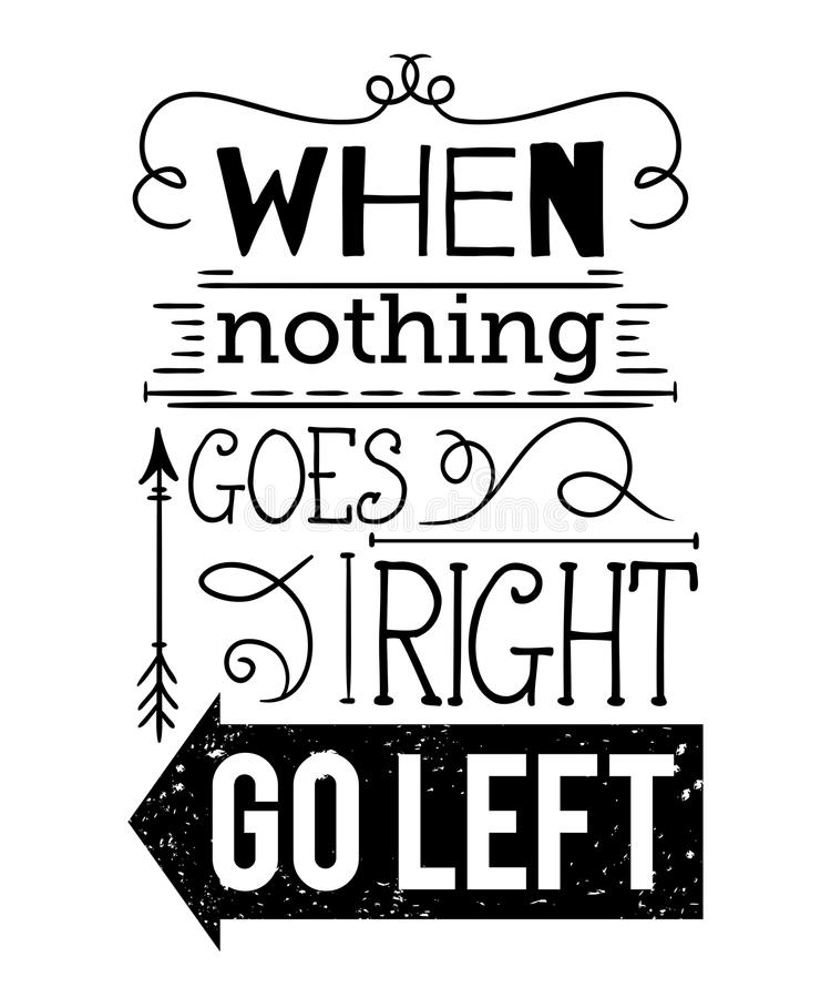 Typography poster with hand drawn elements. Inspirational quote. stock illustration
