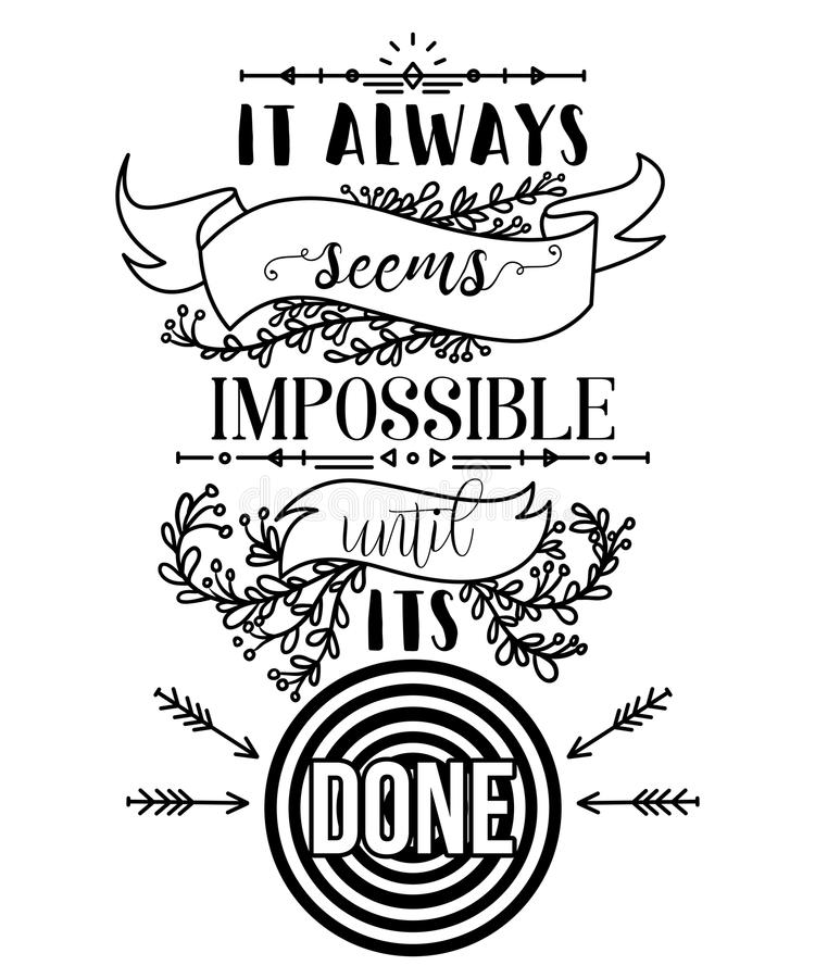 Typography poster with hand drawn elements. Inspirational quote. vector illustration