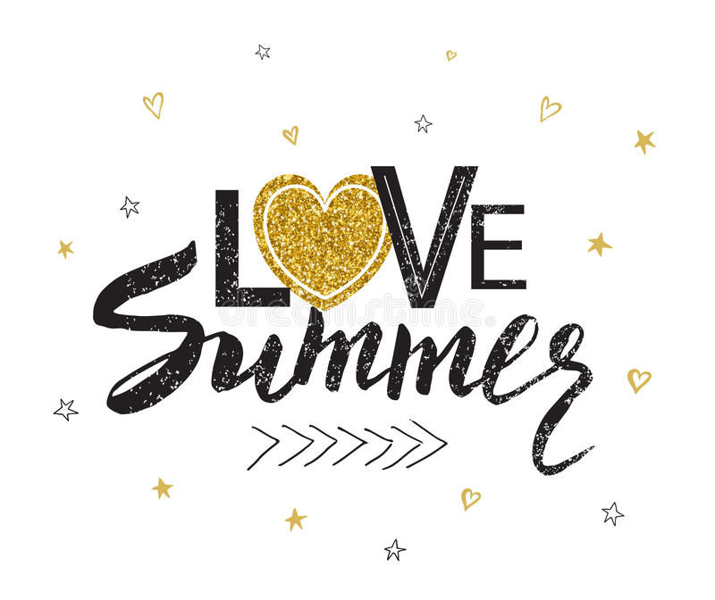 Typography poster with lettering - Love summer. Can be printed on T-shirts, bags, posters, invitations, cards, phone royalty free illustration