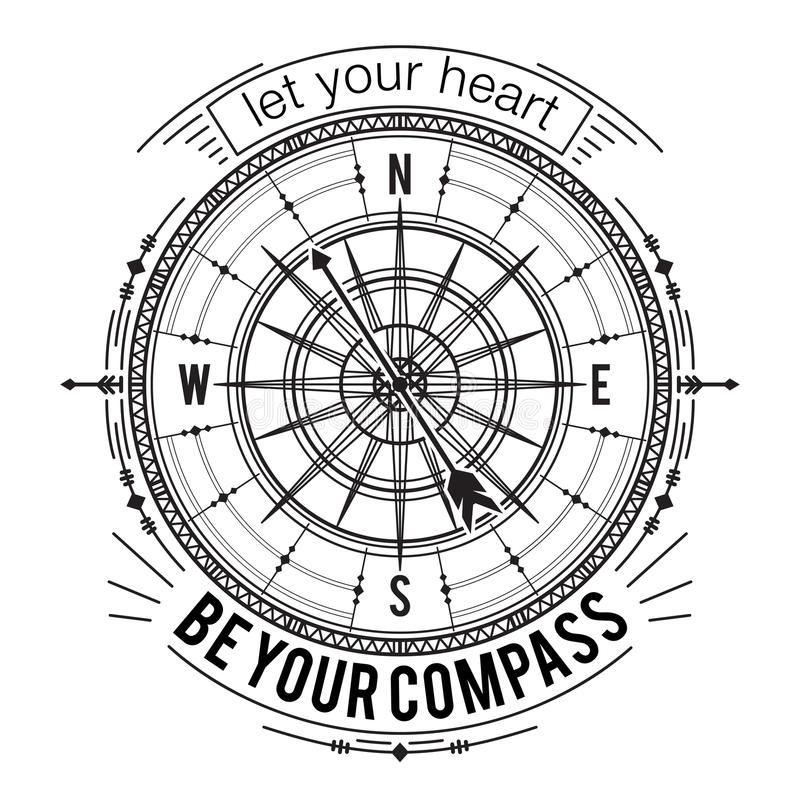 Typography poster with vintage compass and hand drawn elements. Inspirational quote. Let your heart be your compass. Concept design for t-shirt, print, card vector illustration