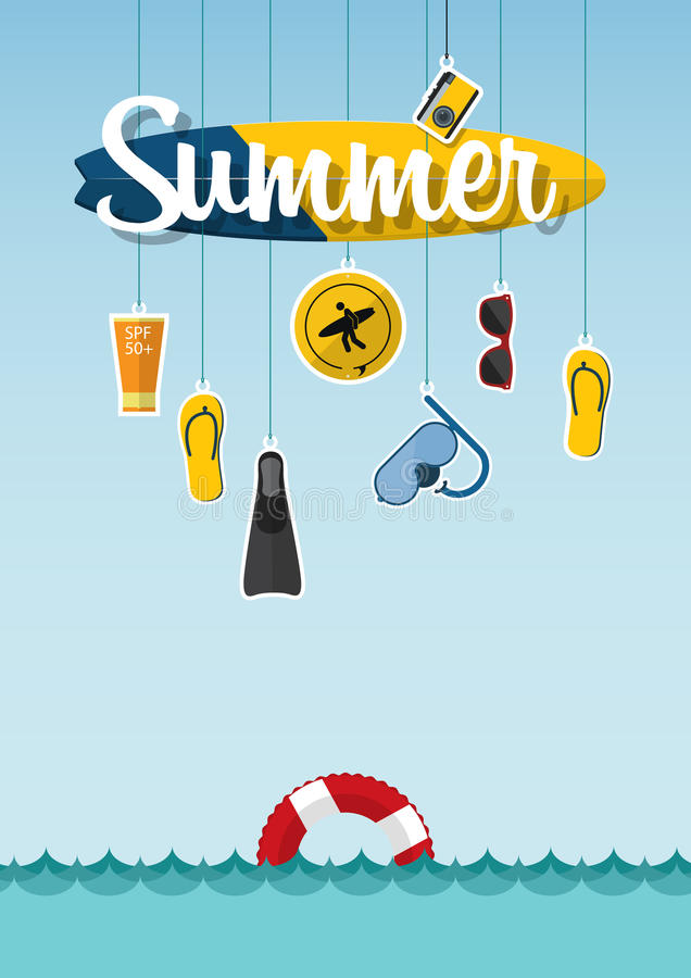 Typography of summer on the beach with icons set of travel in flat design. Vector. vector illustration