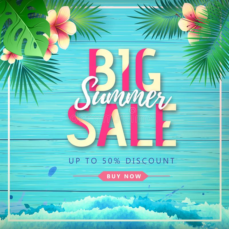 Typography summer big sale poster on wooden grunge background with tropic leaves royalty free illustration