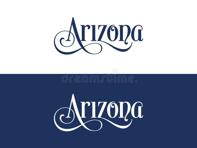 Typography of The USA Arizona States Handwritten Illustration on Official U.S. State Colors vector illustration