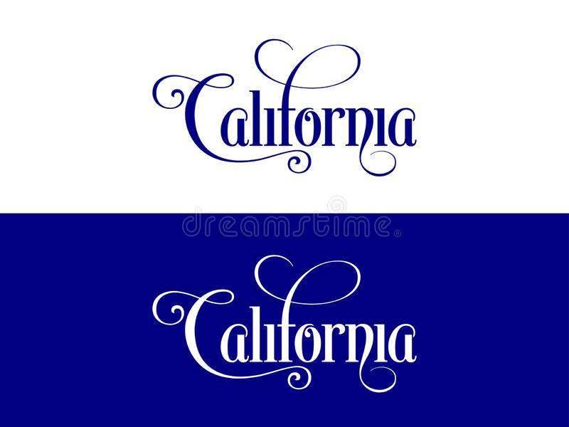 Typography of The USA California States Handwritten Illustration on Official U.S. State Colors vector illustration