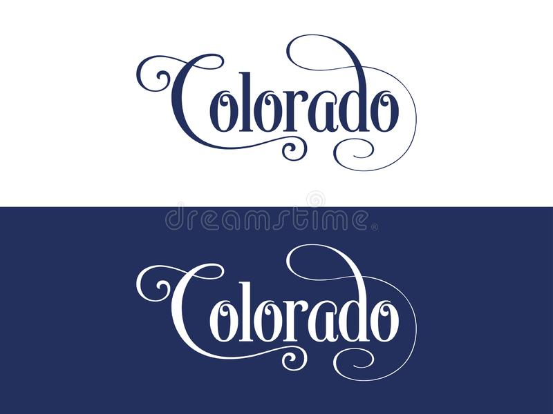 Typography of The USA Colorado States Handwritten Illustration on Official U.S. State Colors royalty free illustration