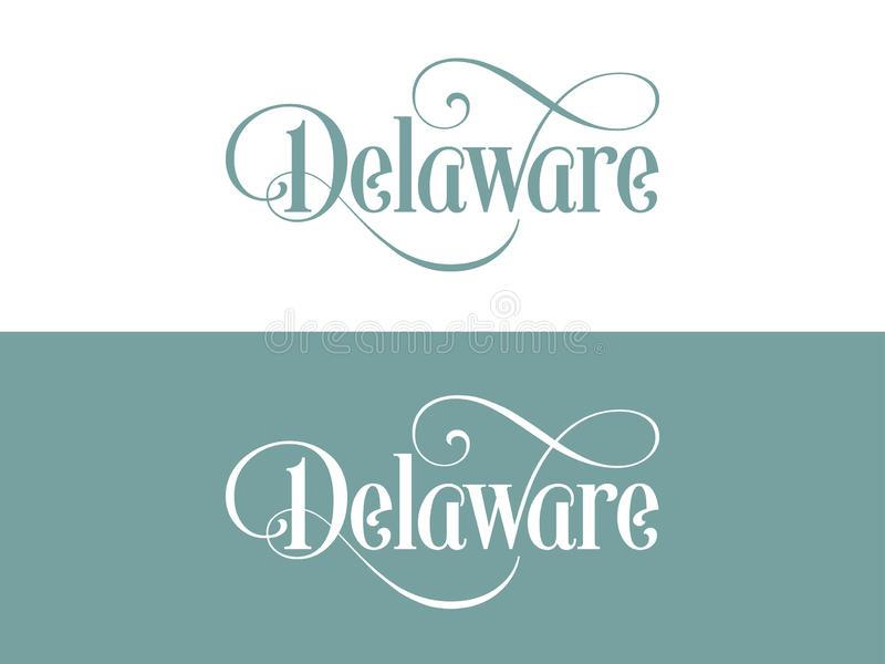 Typography of The USA Delaware States Handwritten Illustration on Official U.S. State Colors vector illustration